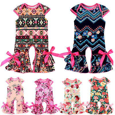 6648a5df1 TODDLER FLORAL ICING Ruffle Long Pants Romper Baby Girls Jumpsuit ...