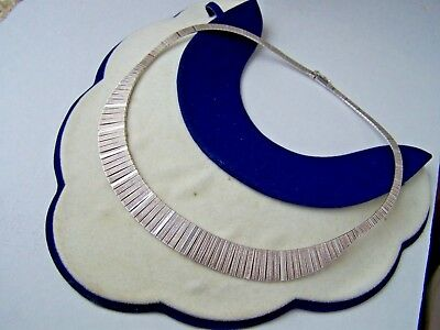 Gorgeous Ornate Solid Sterling Silver Cleopatra Collar Link Necklace 16 1/2""