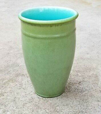"Rookwood Pottery 1921 Arts & Crafts Green with Turquoise Interior 9"" Vase #2187"