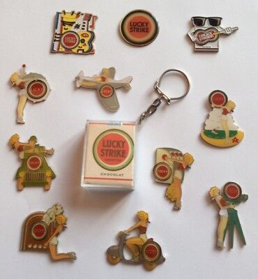 Lot 11 Pin's LUCKY STRIKE Tabac Tobacco Sexy Pin UP Ladies + Keyring Jeep Vespa