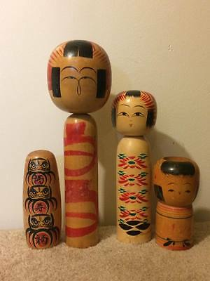 Lot of Signed Vintage wooden Kokeshi bobble head dolls figurines