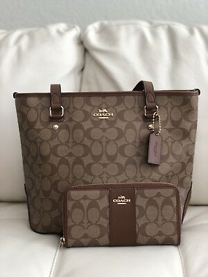 6d77166457 ... cheapest nwt coach signature zip top tote shoulder handbag f58294 khaki  saddle wallet 04352 36793 ...