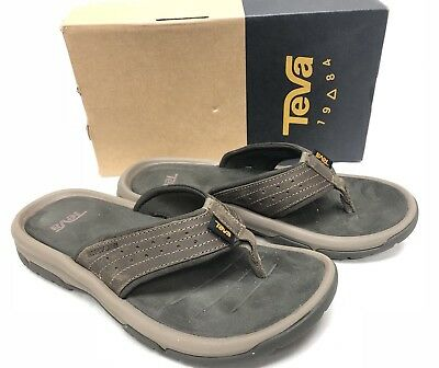 252ae57e9851 Teva Men s Langdon Flip Leather Upper Casual Sandals Walnut 1015151 Thongs