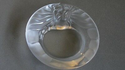 Lalique French Crystal Tete De Lion Cigar Ashtray Bowl