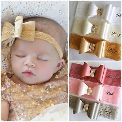 White Ivory Rhinestone Baby Hair Band Satin Lace Bow Baptism Wedding Christening