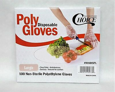 Poly Gloves 100 LARGE SIZE Powder-Free Food Service Gloves Clear FREE SHIPPING!