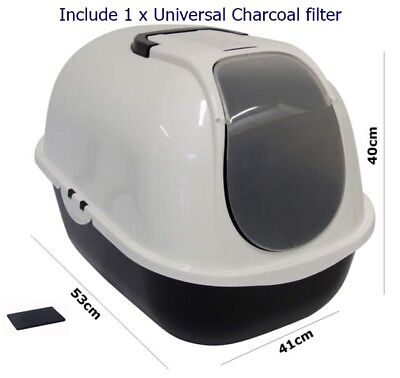 Cat Flip Litter Tray Dark Grey & White Box Hooded Toilet Charcoal Filter Deep