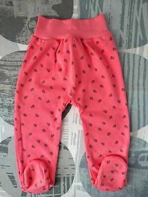 ad8649beb25 BNWT Baby Toddler GIRLS CORAL Trousers Pants with feet 100% Cotton 12-18  Months