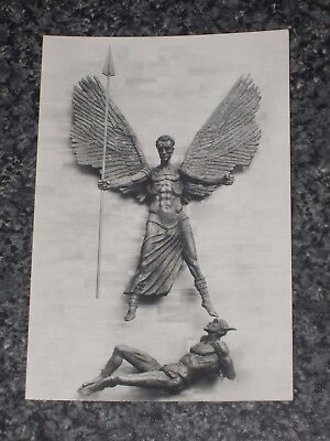 Epstein's Bronze St Michael & Devil Coventry Cathedral  Photo  Postcard Vintage