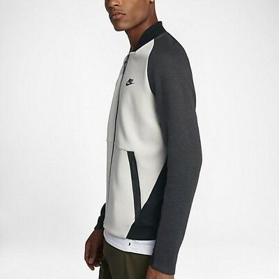 best cheap 96fd6 2dd43 (886617-091) Nike Tech Fleece Varsity Jacket Mens Light Bone Black Jacket Sz