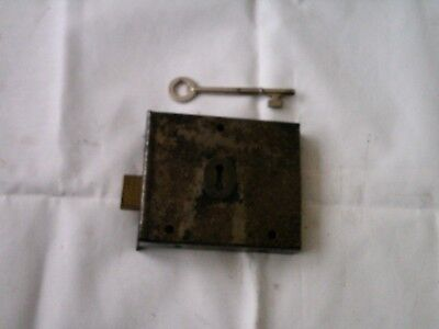 Vintage Antique Rim Lock /  & key, Latch Door  Locks  ,no keep