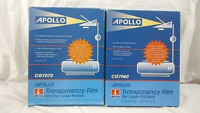 Apollo CG7060/ 7070 Transparency Film 8 1/2 x 11 in for Laser Printers Lot of 2