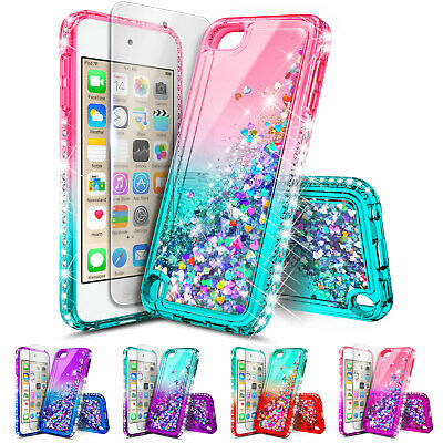 For iPod Touch 5th 6th Gen Case | Glitter Liquid Bling Cover + Tempered Glass