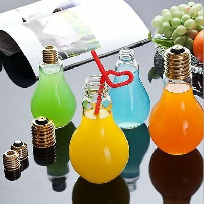 300ml Clear Container Bottle Light Bulb Shape Stand Flower Vase Hydroponic Jar A