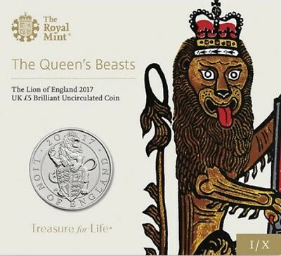 "2017 U.K. £5 BU 1 oz. Coin | ""Queen's Beasts: The LION OF ENGLAND"" (alloy metal)"