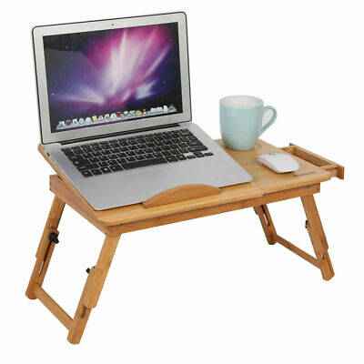 Portable Folding Bamboo Bed Laptop Desk Adjustable Lap Notebook Table Stand Tray