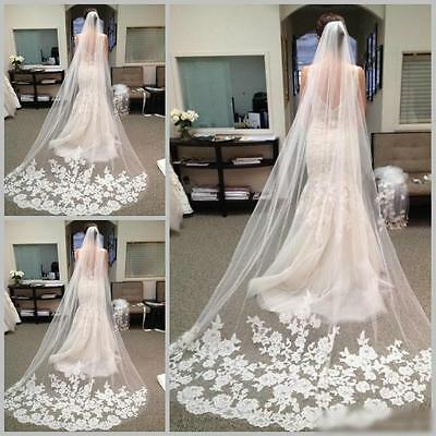 3 M White Ivory Cathedral Length Lace Edge Bride Wedding Bridal Long Veil + Comb