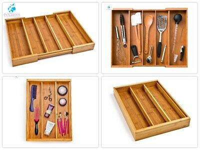 Cutlery Drawer Tray Bamboo Expandable 5 Large Compartment Adjustable Organizer