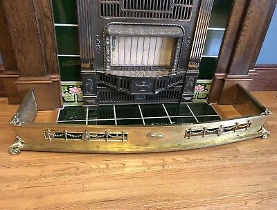 "Antique Victorian Brass 50"" Fireplace Fender Vintage Guard Bumper Garland"