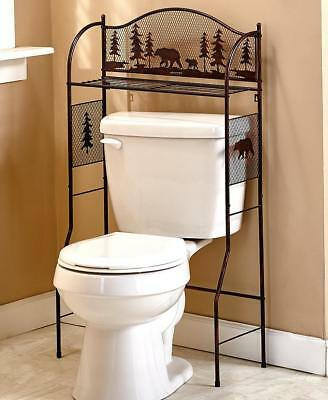 Bronze Metal BEAR Over The Toilet Stand Rack Storage Organizer Lodge  Bathroom
