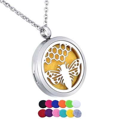 Stainless Steel Fashion Pendant Necklace Jewelry Bee Pattern Aroma Diffuser 30mm