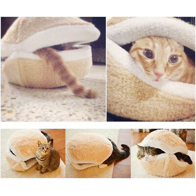 Shell Dog Cat Pet Sleeping Bed Bag Nest House Kennel Kitty Hamburger Warm Hiding