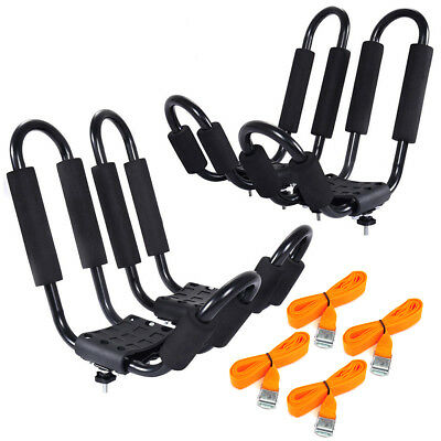 2Pair J Bar Kayak Canoe Car SUV Top Mount Roof Rack Carrier With Lashing Straps
