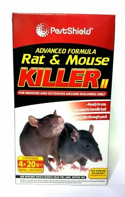 Rat and Mouse Killer Poison Bait 4x 20g Kills Rodents Fast & HSE Approved