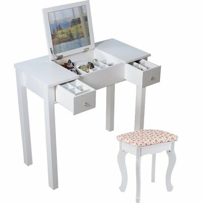 Attractive Modern Dressing Table Drawer Stool Fold Down Mirror Bedroom Makeup Desk  White
