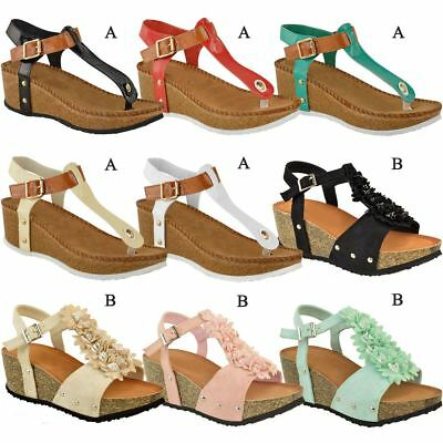f39622294 Ladies Womens Wedge Comfort Sandals Cushioned Flip Flops New Footbed Shoes  Size