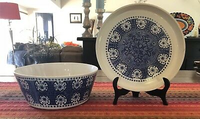 "Vintage Arabia of Finland ""Ali"" Cobalt Blue/White LARGE 10"" Bowl & Matching Tray"