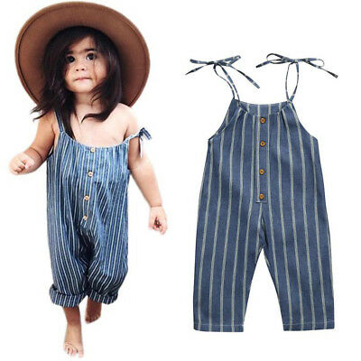Toddler Kids Baby Girls Clothes Striped Romper Jumpsuit Trousers Summer Outfit