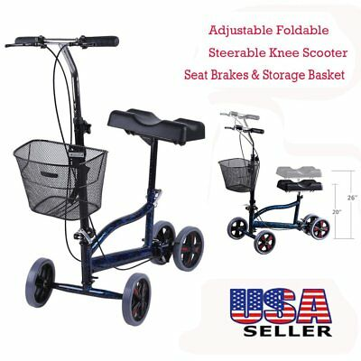 New Steerable Foldable Knee Walker Scooter Turning Brake Basket Drive Cart  BP