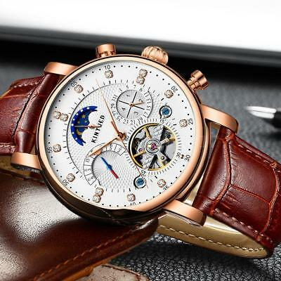 KINYUED Luxury Automatic Mechanical Skeleton Man Business Watch Moon Phase UK