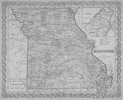 1855 MISSOURI MAP WEBSTER WORTH WRIGHT COUNTY Affton Arnold Aurora Ballwin big