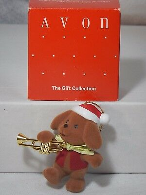 Avon Merry Marchers Christmas Ornament Puppy With Trumpet-Nib