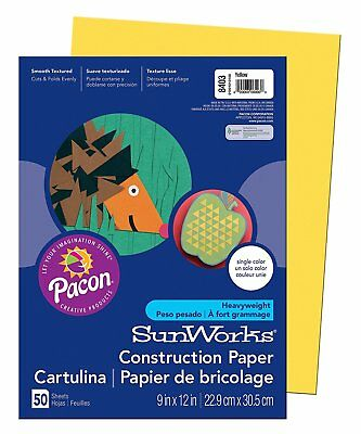 Pacon SunWorks Construction Paper, 9-Inches by 12-Inches, 50-Count, Yellow