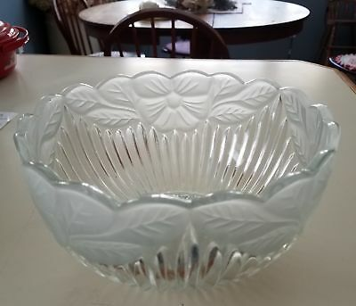 Vintage Clear Glass Bowl Lampshade with Frosted Floral Edge Design - 8.5 inch