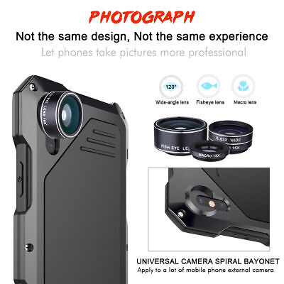 For iPhone X 5 6 7 8, Waterproof Shockproof Metal Case Back Cover +3 Camera Lens