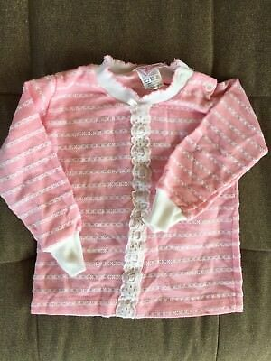 Vintage Baby Girl Clothes Striped Sweater Pink White 6-12 Months Buster Brown
