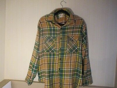 Men's Vintage BROTHER Green Flannel Plaid Shirt size16 1/2 Made In USA