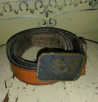 Vintage 1978 Tanned Harness Leather Belt 42 44 Bts Solid Brass Buckle Tree Usa