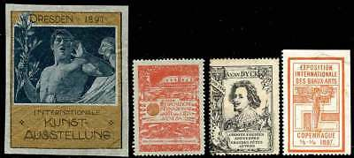 Europe Poster Stamps - 4 Different Art Exh. - Germany, Italy, Belgium, Denmark