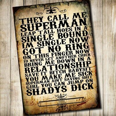 Eminem Rap Hip-Hop Typography Music Song Lyric Quote Poster Print Word Art A4
