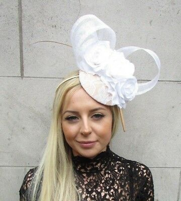 White Beige Gold Rose Flower Feather Hat Hair Fascinator Races Wedding Vtg 5739