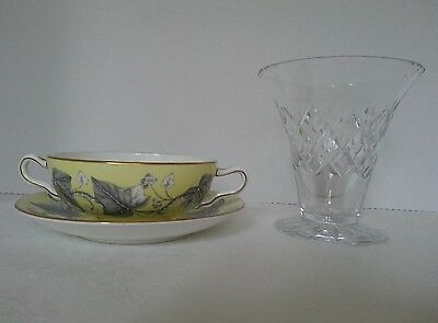 Wedgwood Josephine Yellow [W3927] - 1 Footed Cream Soup Bowl & 2 Saucers (3 Pcs)
