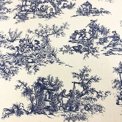 Blue Toile De Jouy 100% Cotton Fabric