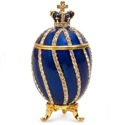 Blue Russian Faberge Egg Replica Made in Russia Crown Cross Jewelry Gift Box