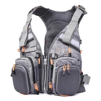 Blusea Mesh Fly Fishing Vest Backpack Breathable Outdoor Fishing Safety I2J5