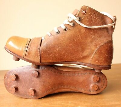 92139e270d9d Antique c1920 Football Boots. Vintage Brown Leather Soccer Cleats. New Old  Stock